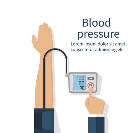 Man het controleren van de arteriële bloeddruk. concept van de gezondheidszorg. Vector illustratie plat design. Bloeddruk meten, digitale tonometer. Medische apparatuur. Toezicht op de gezondheid. Vector Illustratie