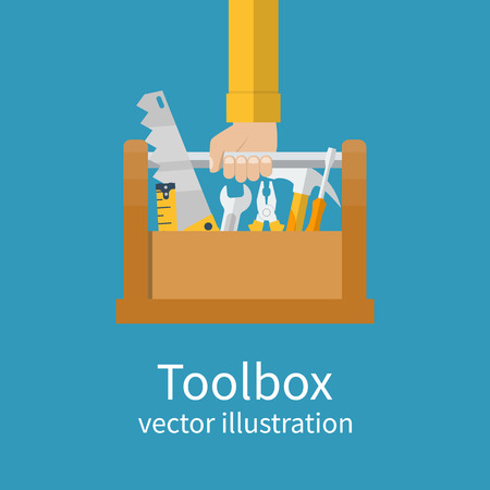 Toolbox with tools in hands of builder. Saw, wrench, screwdriver, hammer, tape measure, pliers. Vector illustration flat design. Hand tools for repair and restoration Illustration