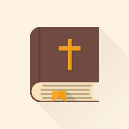 the scriptures: Bible. Scriptures vector illustration flat design. Icon with a long shadow. Church book, isolated on background. Scriptures for Christian believers, Catholics.