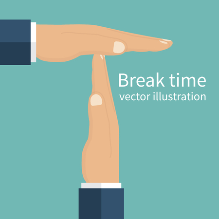 timeout: Businessman hands signaled a break from work. Gesture hands time-out. Vector illustration flat design style. Isolated male hands symbolizing a break. Illustration