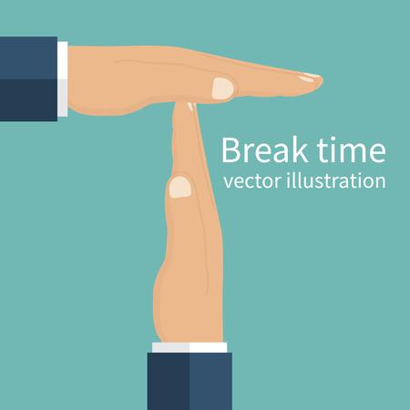 El hombre de negocios marcó una pausa en el trabajo. Gesto de las manos de tiempo de espera. estilo de ilustración vectorial diseño plano. manos de los hombres aislados que simbolizan un descanso.