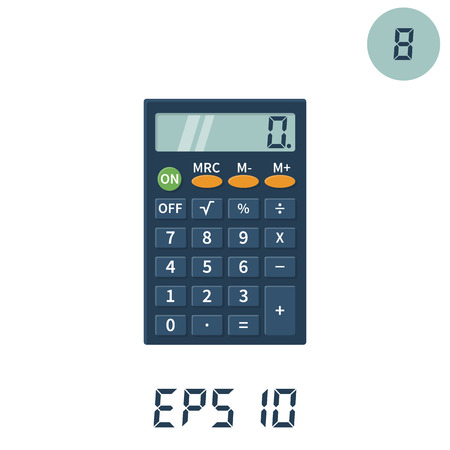 Calculator icons flat design vector illustration. Calculator isolated on white background. Sign of editing a set of numbers. Template for web design, calculations and computations. Illustration