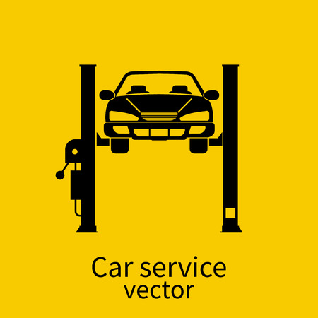 car hoist: Car on a lift, isolated. Car repair icon. Sign of service maintenance vehicle. Flat style vector illustration. Can be used as a road sign of garage, service stations.