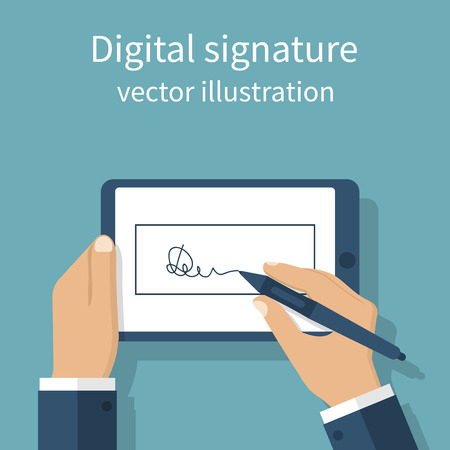 Digital signature on tablet. Vector illustration flat design. Businessman hands holding a tablet for signature. Modern technology business. Иллюстрация