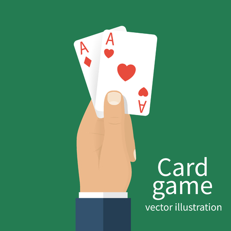 gambler: Playing cards in hand men. Vector illustration  flat design. Card game template banner. Gambling business. Hand with two aces isolated on background. Gambler in casino. Successful game Illustration