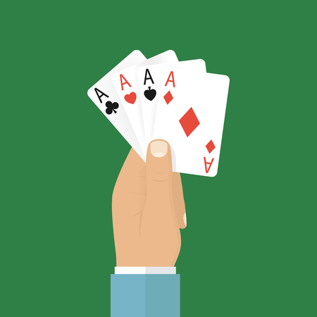 hand holding playing card: Man holding playing cards four aces. Winning card, a symbol of success and victory. Concept of gambling. Vector illustration  flat design. Poster, banner casino.