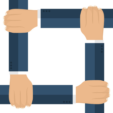 unification: Businessmen are connected by the hands as a symbol of unification. Isolated hands of men in suits. Vector illustration, flat design. Group work, team of people. Template for text, slogans, quotes.