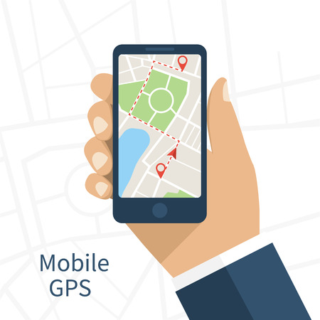 gps device: Mobile gps navigation on mobile phone. Hand holds smartphone with city map on screen. Vector illustration flat design. Icon isolated GPS mobile device. Illustration