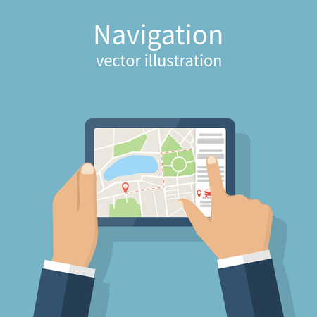 gps device: Navigation concept. Man holding the navigation device in hands. Route on map. Vector illustration flat design. GPS mobile device.