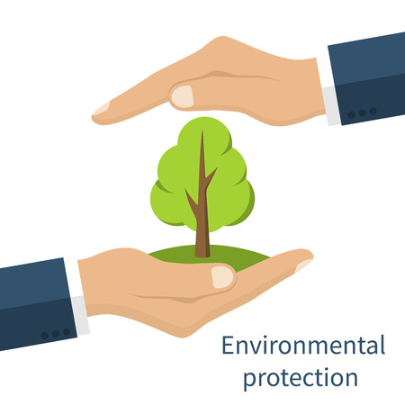 hands holding tree: Environmental protection. Hands holding tree. Ecology concept. Protection ecology. Vector illustration flat design.  Banner environmental protection.