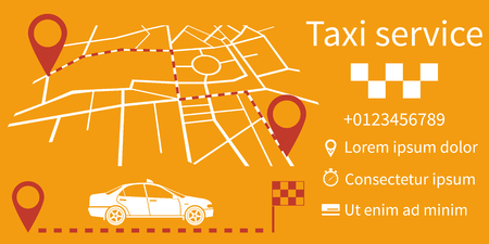 rather: Taxi service. Vector illustration, flat design. Taxi call. Information banner can be a template for web applications. Route on a map city with pointers.
