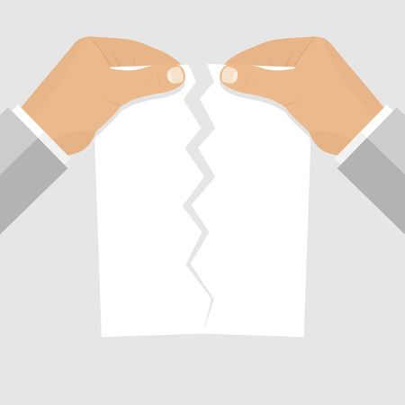 termination: Male hands tearing a blank sheet of paper. Vector illustration of flat design style. Blank paper sheet torn in the hands of a businessman. Termination of employment. Template for web projects.