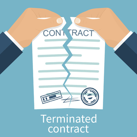 termination: Terminated contract. Businessman tearing contract hands. Flat design style vector illustration. Concept of disagreement. Business documents. End deal. Illustration