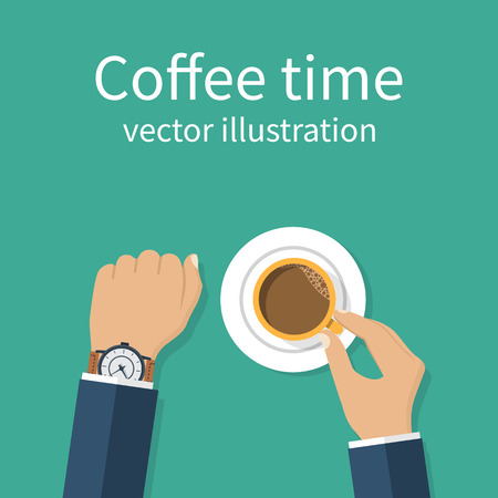time out: Coffee time. Vector illustration flat design. Businessman drinking coffee looking at watch, break at work. Time to relax and think. Hands holding cup. Time out on work. Illustration