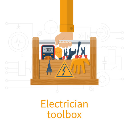 multimeter: Toolbox electrician. Electricians in hand holding box of tools and equipment for repair and maintenance. Concept of electrical  service center, workshop.