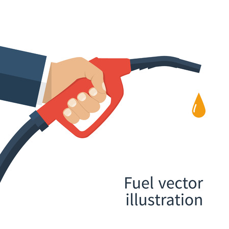 Fuel pump in hand man. Petrol station. Holding fuel nozzle. Gasoline pump with drop.  illustration flat design style. Icon isolation on a white background. Vettoriali