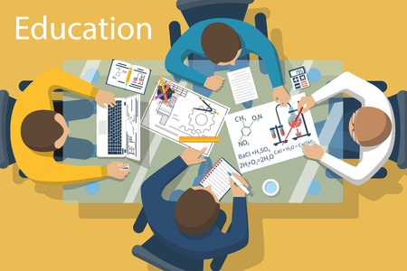 discussion: Studying group of students at the table. Brainstorm, learning process. Concept education. illustration flat design style. University students, school at the desk. Illustration