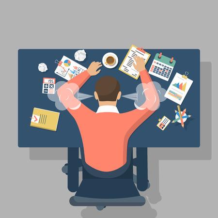 L'uomo alla scrivania, sopraffatto duro lavoro. Stress sul lavoro. Fatica a lavoro. illustrazione design piatto. Vettoriali
