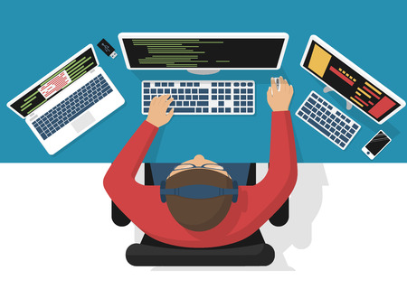 Programmer at computer desk working on program design. Software concept. illustration flat design. Man working at desktop computer, laptop. Coding, web technology. Development applications.
