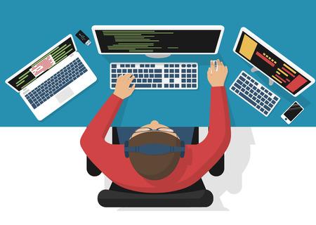 Programmer at computer desk working on program design. Software concept. illustration flat design. Man working at desktop computer, laptop. Coding, web technology. Development applications.