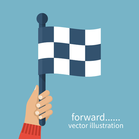 arbiter: Racing flag in hand umpire. Checkered flag, illustration flat design. Sport competitions. Referee signal. Start and finish. Illustration