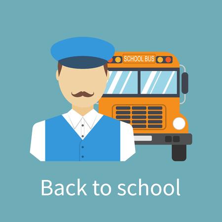 bus driver: Conductor del autob�s escolar. Conductor con el icono del autob�s. La entrega de ni�os en la escuela. estilo de dise�o plano ilustraci�n. Bandera, cartel de regreso a la escuela.