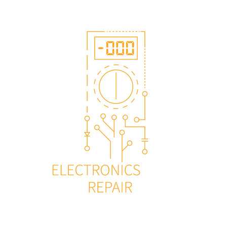 conducting: Electronics repair. Abstract multi meter conducting diagnostic chips.