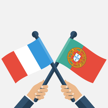 finals: Portugal France finals football. Flags in the hands men crosswise. illustration of a flat design. Template for web and print design. Poster, banner.