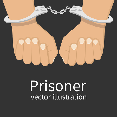 cuffs: Hands in handcuffs isolated, icon. Man in jail prisoner. illustration flat design.