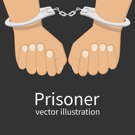 Manos esposadas aislados, icono. Hombre en la cárcel de prisioneros. diseño plano ilustración. Ilustración de vector