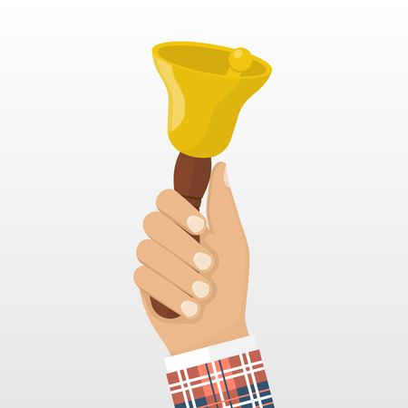 Man in school uniform holding in his hand the school bell. illustration flat design style. Isolated bell in hand on white background. Call for knowledge, training, learn.