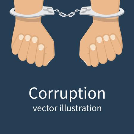 corruptible: Handcuffs on hands. Corruption icon. Anti corruption concept.