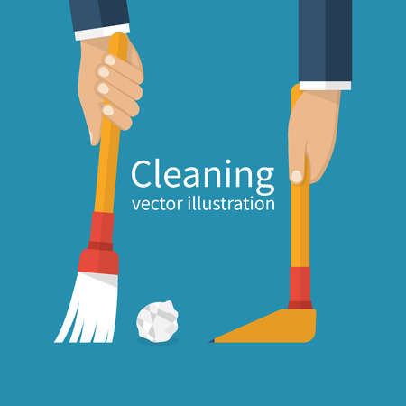 garbage man: Cleaning service. Man holding in hand a broom sweeping garbage, collecting in the dustpan. Brush and scoop. Illustration