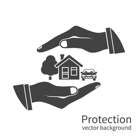 icono de seguros de propiedad. concepto de la seguridad de la propiedad, casa, coche, dinero. Agente de seguros que tiene en la mano de la casa, la protección del peligro, proporcionando seguridad.