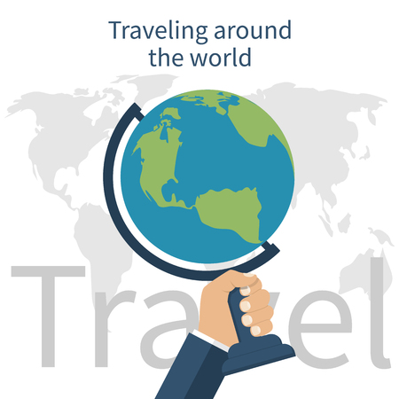 hand globe: Traveling around the world. Travel concept. illustration of flat design. Man holds in hand globe. Trip in various country worldwide. Tourism and journey.