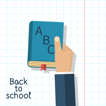 man holding book: Man holding school book alphabet. Vector illustration flat design. Isolated book ABC in hand on the background of a sheet of paper. The concept of education Back to school.