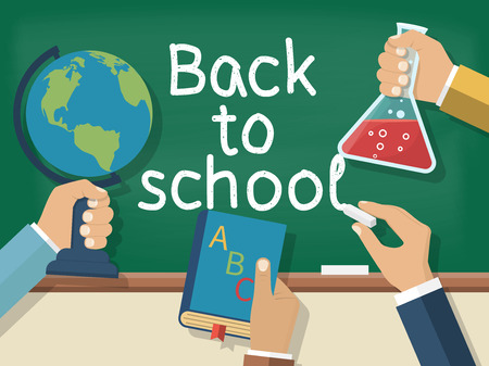 hand globe: Welcome back to school. Concept education. Vector illustration flat design. Holding in hand globe, book, bell, chalk, on background of school board.
