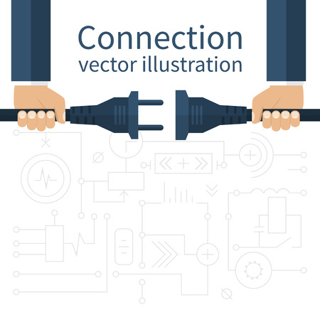 electric circuit: Connection, disconnection electricity. Vector illustration flat design. Men are holding in hand plug and socket to connect. Abstract concept isolated on the background of electric circuit.