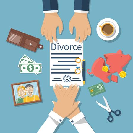 Concepto de divorcio. Reunión de marido y mujer para firmar los papeles del divorcio acuerdo. división de la propiedad. Ilustración vectorial de un diseño plano. La forma se firmó con el sello.