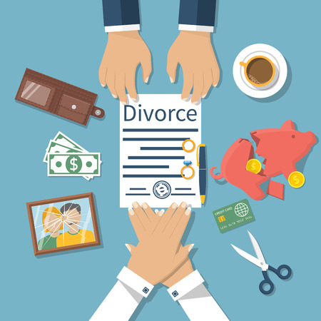 breaking law: Divorce concept. Meeting of husband and wife to sign agreement divorce papers. Property division. Vector illustration of a flat design. Form is signed with stamp.