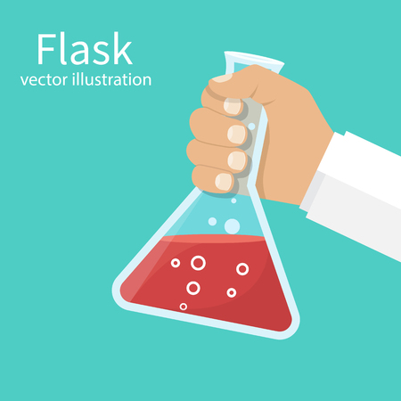 Doctor medicine holds flask in hands. Vector illustration flat design. Laboratory research, testing. Reaction of chemical solution in flask. Illustration
