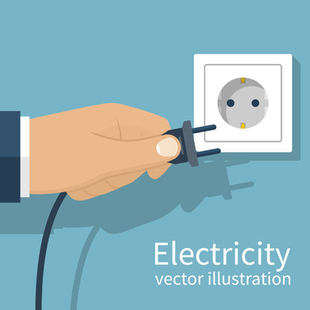 unplug: Electric power plug holding in hand. Unplug, plugged in wall socket. Vector illustration flat design. Connecting power plug.