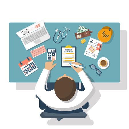 El hombre en la mesa se llena en forma de seguro de salud. el concepto de salud. estilo de ilustración vectorial diseño plano. planificación de la vida. Formulario de reclamación. equipos médicos, dinero, medicamentos de venta con receta.