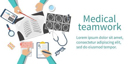 デスクトップで医療チームの医師。診断医療機器。研究ドキュメント。ヘルスケアの概念。医師のチームワーク。グループの外科医。フラットなデ