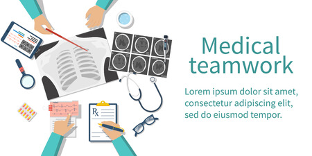 Medical team doctors at desktop. Diagnostic medical equipment. Research documents. Healthcare concept. Teamwork of doctors. Group surgeons. Flat design, vector illustration. Banner web. Иллюстрация