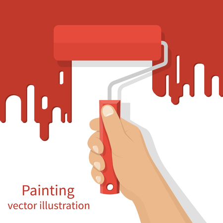 painting on the wall: Man holding in hand roller, isolated on background painted red wall. Painting service. Artist paints. Flat style design vector illustration. Renovation concept. Illustration