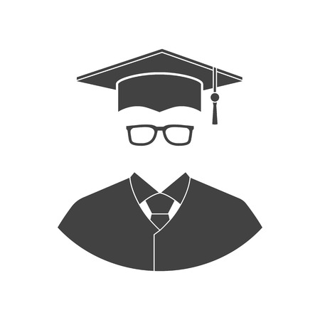 scholarship: Student icon isolated on a white background. Flat design style vector illustration. Education graduation.