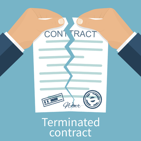 terminated: Terminated contract. Businessman tearing contract hands. Flat design style vector illustration. Concept of disagreement. Business documents. End deal. Illustration