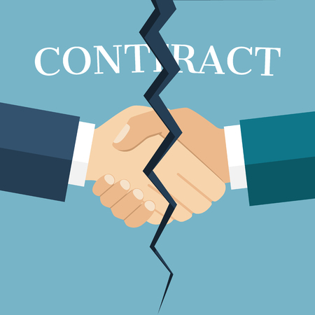 termination: Abstract handshake between two businessmen, cracked in half, as a symbol of termination of contract. Terminated contract concept. Flat design style vector illustration. End deal.