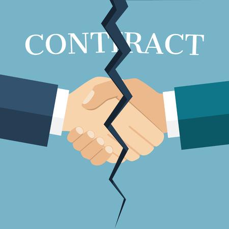 Resumen apretón de manos entre dos hombres de negocios, quebrada por la mitad, como un símbolo de la terminación del contrato. concepto de resolución del contrato. estilo de ilustración vectorial diseño plano. oferta final. Ilustración de vector